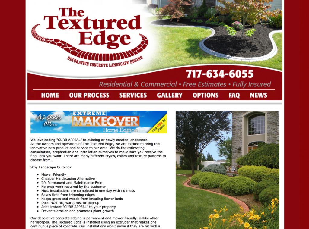 Textured Edge website design