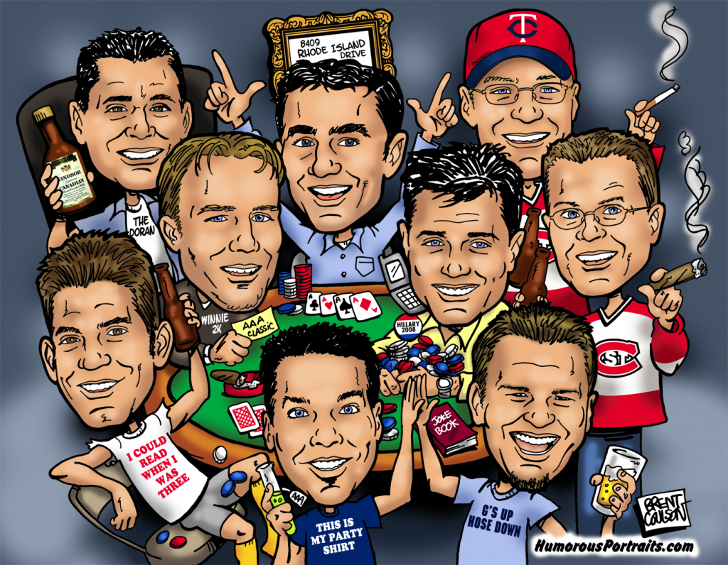Group Poker Caricature